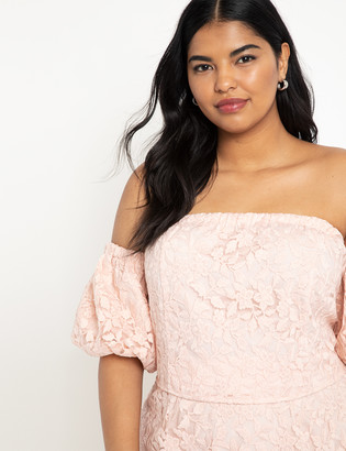 ELOQUII Puff Sleeve Off the Shoulder Top