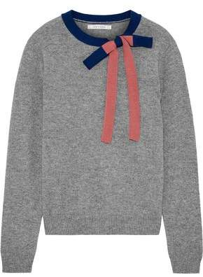 Chinti and Parker Bow-embellished Melange Cashmere And Wool-blend Sweater