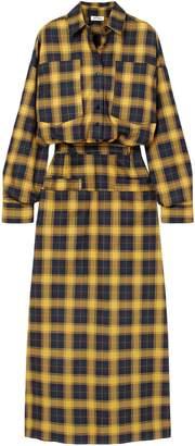 ATTICO Checked Cotton Midi Shirt Dress