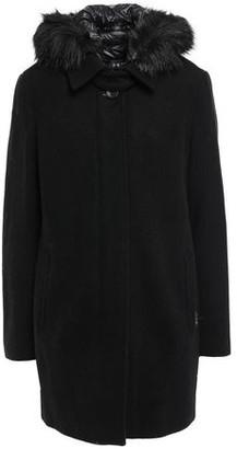 DKNY Faux Fur-trimmed Wool-blend Felt Jacket