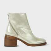 Paul Smith Women's Metallic Taupe Leather 'William' Ankle Boots