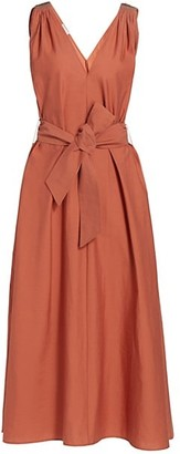 Brunello Cucinelli Monili-Shoulder Belted Poplin Midi Dress