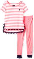 U.S. Polo Assn. Neon Pink & White Stripe Top & Leggings - Toddler & Girls