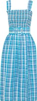 Nicholas Belted Shirred Checked Crinkled-cotton Midi Dress