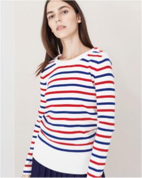 Le Mont St Michel Sailor Classic Stripes Cotton Jersey - L - Blue/Red/White