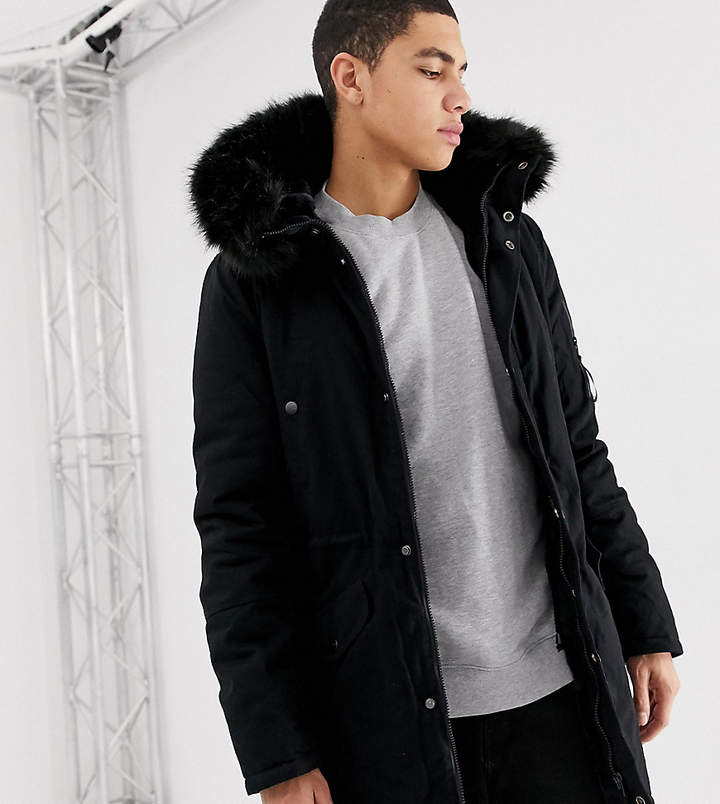 74a1138e9 parka coat in black with black faux fur hood exclusive to ASOS