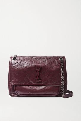 Saint Laurent Niki Medium Quilted Crinkled Glossed-leather Shoulder Bag - Burgundy