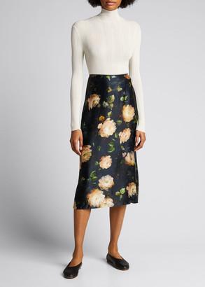 Vince Painted Rose Silk Midi Slip Skirt
