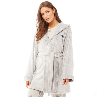 Bedroom Athletics Womens Sade Snow Tipped Flannel Fleece Dressing Gown Black