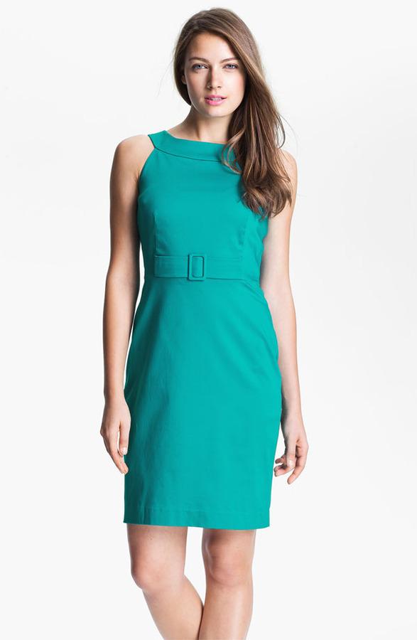 Calvin Klein Cutaway Belted Cotton Dress