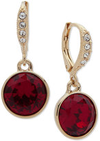 Givenchy Gold-Tone Pave & Red Stone Drop Earrings