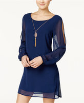 As U Wish Juniors' Split-Sleeve Shift Dress with Necklace
