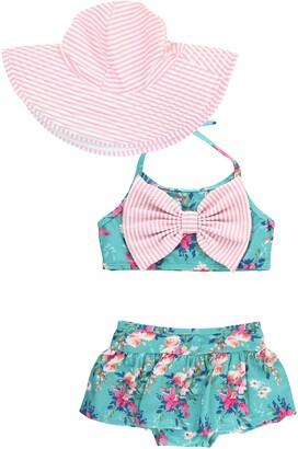 RuffleButts Fancy Me Two-Piece Swimsuit & Hat Set