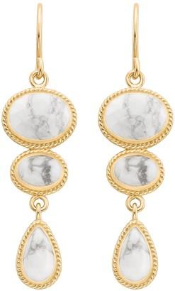 Anna Beck 18K Gold Plated Sterling Silver Howlite Multi Stone Dangle Earrings