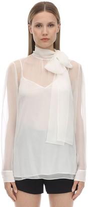 Valentino Self-Tie Chiffon Collar Shirt