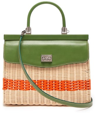 Rodo Leather And Wicker Top-handle Bag - Womens - Green Multi