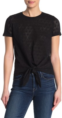 Madewell Modern Tie-Front Geometric Eyelet T-Shirt