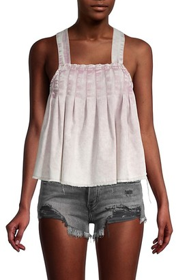 Free People Marina Pleated Denim Strappy Top