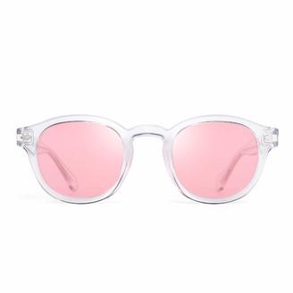 JIM HALO Vintage Round Polarized Sunglasses for Women Acetate Frame UV400 (Black Frame/Gradient Grey Lens)