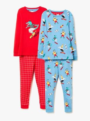 John Lewis & Partners Boys' Skating Animals Print Pyjamas, Pack of 2, Red/Blue
