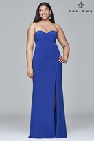 Faviana 9413 Long sweetheart neck dress with high skirt slit