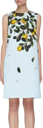Oscar de la Renta CITRUS PRIMAVERA PRINT Sleeveless Mini Dress