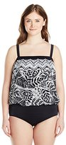 Maxine Of Hollywood Women's Plus-Size Tribal Beat Bandeau Blouson Mio Swimsuit