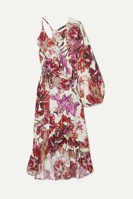 Rotate by Birger Christensen Asymmetric Ruffled Floral-print Crepe Wrap Dress - Purple