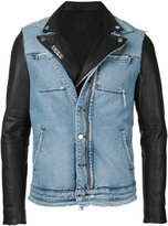 RtA denim layered jacket - men - Calf Leather - M