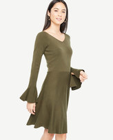 Ann Taylor Petite Double V Flare Sweater Dress