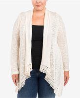 Eyeshadow Trendy Plus Size Mixed-Knit Cardigan