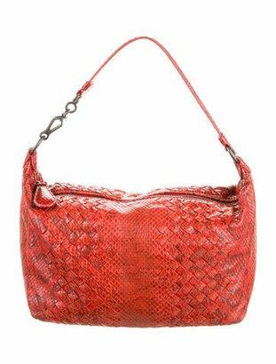 Bottega Veneta Intrecciato Python Bag Red