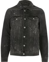 River Island MensCharcoal grey paint splatter denim jacket