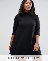 Asos Swing Dress With High Neck And 3/4 Sleeve
