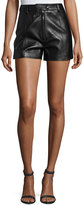 3.1 Phillip Lim Lamb Leather High-Rise Shorts, Black