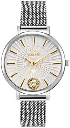 Versus By Versace Versus Women's Mar Vista Silver-Tone Stainless Steel Mesh Watch 34mm