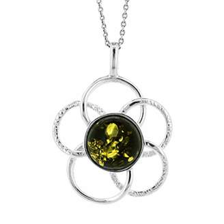 Nova Silver Green Amber Interlocking Circles Textured Flower Daisy Pendant on 18 inch (46cm) Sterling Silver Chain in presentation box