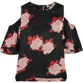 GANNI - Cold-shoulder Floral-print Satin Top - Black
