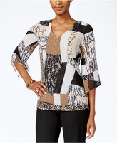 JM Collection Printed Bell-Sleeve Top, Only at Macy's