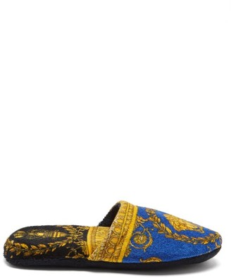 Versace Baroque-print Cotton-terry Slippers - Blue Gold