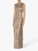 Gina Bacconi Alvira Beaded Collar Maxi Dress, Beige