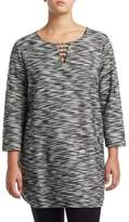 Joan Vass Plus Tweed Geometric Tunic
