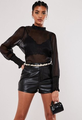 Missguided Black Sheer Organza Frill Neck Blouse