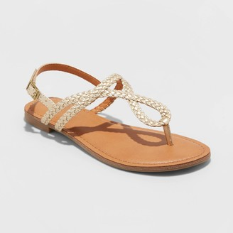Universal Thread Women's Anabel Wide Width Braided Thong Ankle Strap Sandals - Universal ThreadTM 7W