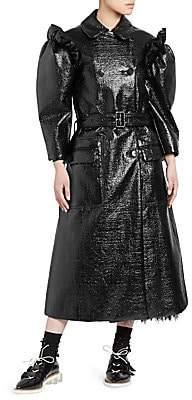 Simone Rocha Women's Puff-Sleeve Laminated Tweed Trench Coat