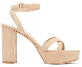 Gianvito Rossi Poppy 100 Suede Platform Sandals - Womens - Nude