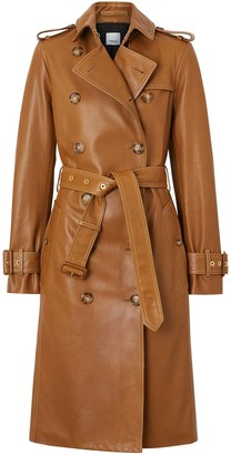Burberry Topstitch Detail Lambskin Trench Coat