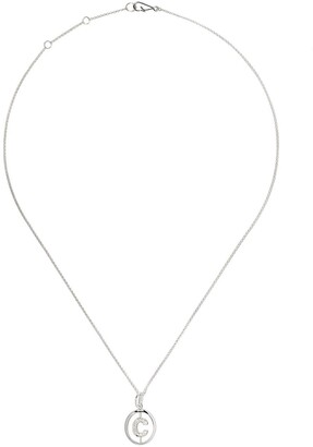 Annoushka 18kt white gold diamond initial C necklace