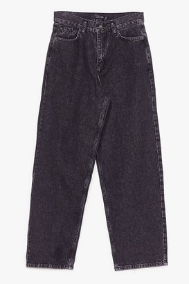Nasty Gal Womens Always By Your Side Wide-Leg Jeans - Washed Black