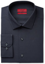 Alfani Men's Fitted Performance Black Micro Windowpane-Check Dress Shirt, Only at Macy's